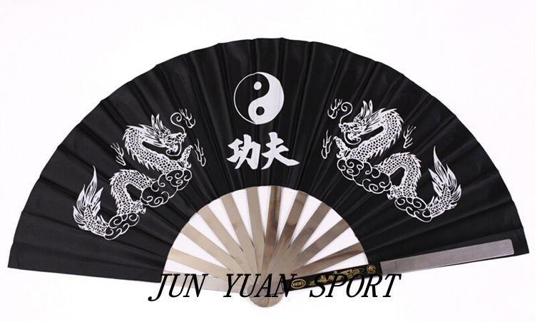 Spor ve Eğlence'ten Dövüş Sanatları'de Yüksek kalite! çin Ejderha Paslanmaz Çelik Çerçeve Tai Chi Dövüş sanatları Kung Fu Fanı/Paslanmaz çelik fanlar 3 renk  ücretsiz kargo! title=