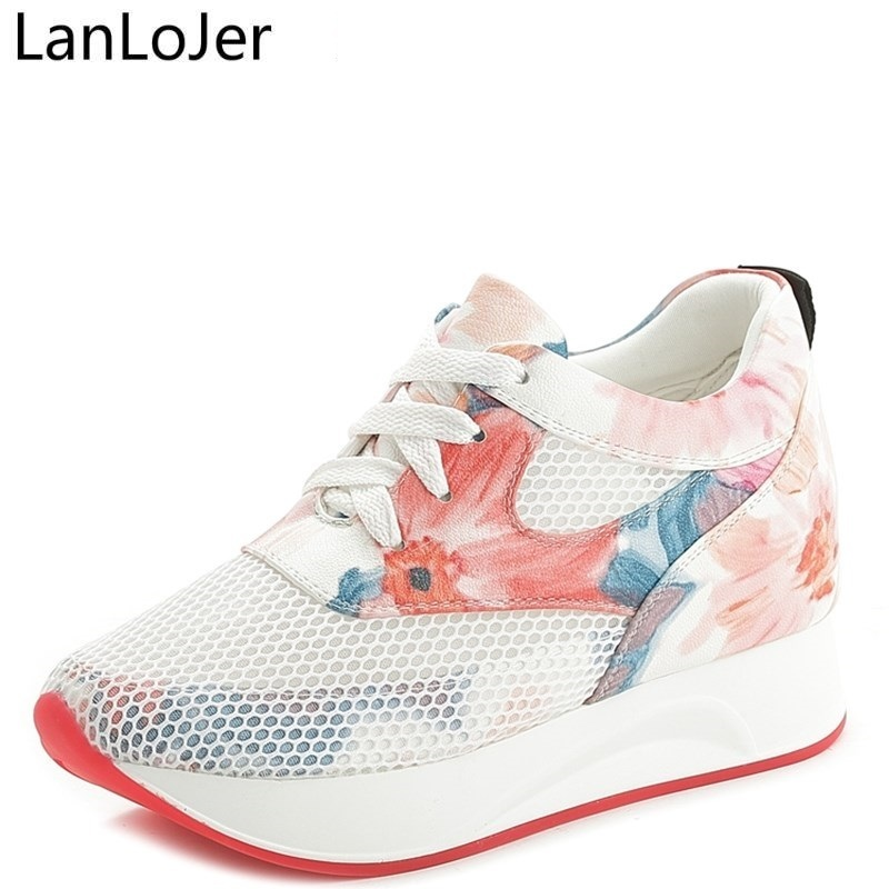 LanLoJer Brand 2017 Wedge Shoes Hidden Heels Womens Elevator Shoes Casual Shoes For Women Breathable Lace Wedges