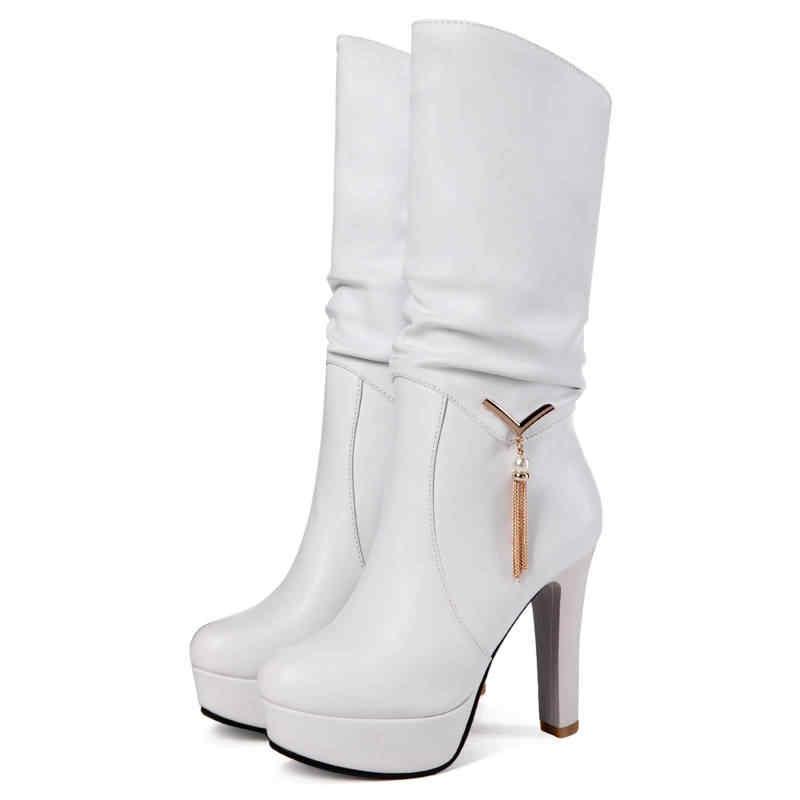 MEMUNIA 2018 yeni varış moda orta buzağı botları kadınlar üzerinde kayma yuvarlak ayak platformu çizmeler seksi yüksek topuklu çizmeler sonbahar bayan ayakkabıları