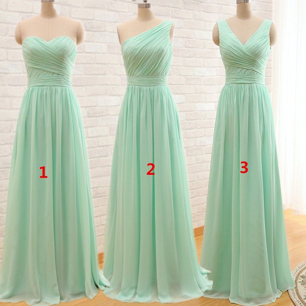 Ever Beauty Mint Green Long Chiffon A Line Pleated Bridesmaid ...