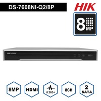 In Stock Hik 8CH NVR DS 7608NI Q2/8P 8 Channel 8 Independent POE NVR for POE Camera 8MP Max 2 SATA Network Video Recorder