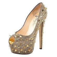 Shofoo Frauen Beige Pleather Peep Toe Nieten High Heels Pumps Schuhe, plus größe 5-14, kleid & Party & Abend