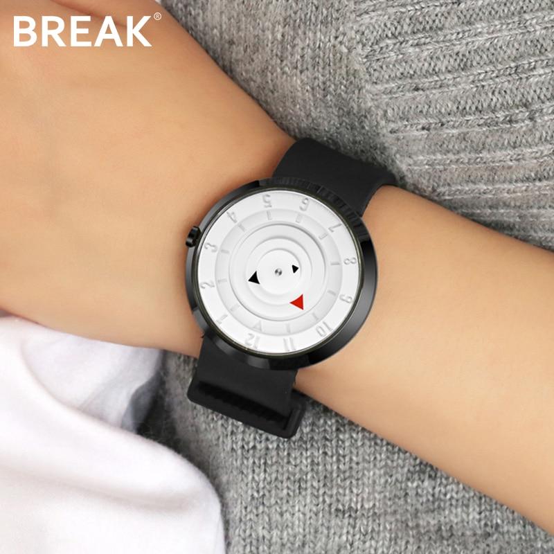BREAK Men Unisex Creative Fashion Casual Classic Rubber Band Sport Waterproof Quartz Watch Gift for Women Black Wristwatches
