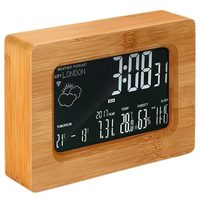 LCD Forecast Station Wooden Wi Fi Wireless Digital Weather Station Clock for iOS Android Smartphone, Wood Color