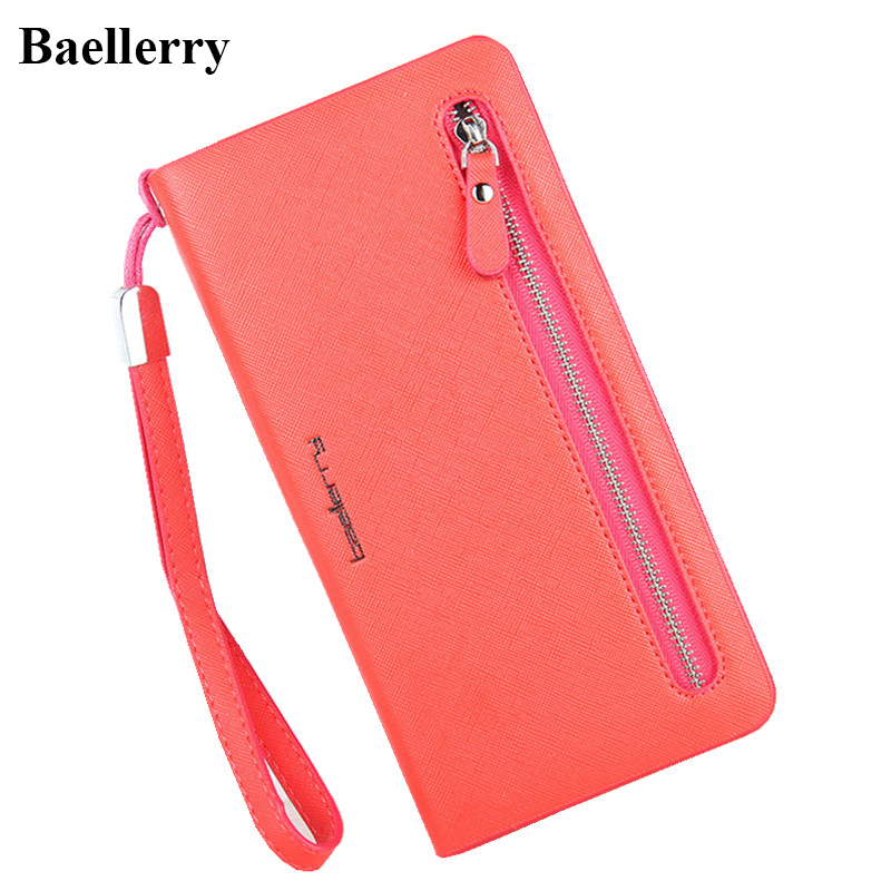 Luxury Brand Leather Phone Wallets Women Zipper Long Coin Purses Money Bag Credit Card Holder High Quality Clutch Wallets Female
