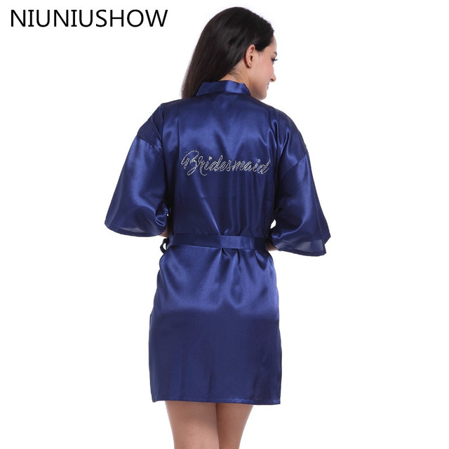90cd54de74 NEW Navy Blue Bride Bridesmaid Wedding Robe Dressing Gown Women Rayon  Yukata Kimono Bathrobe Short Sleepwear Nightwear Pajamas
