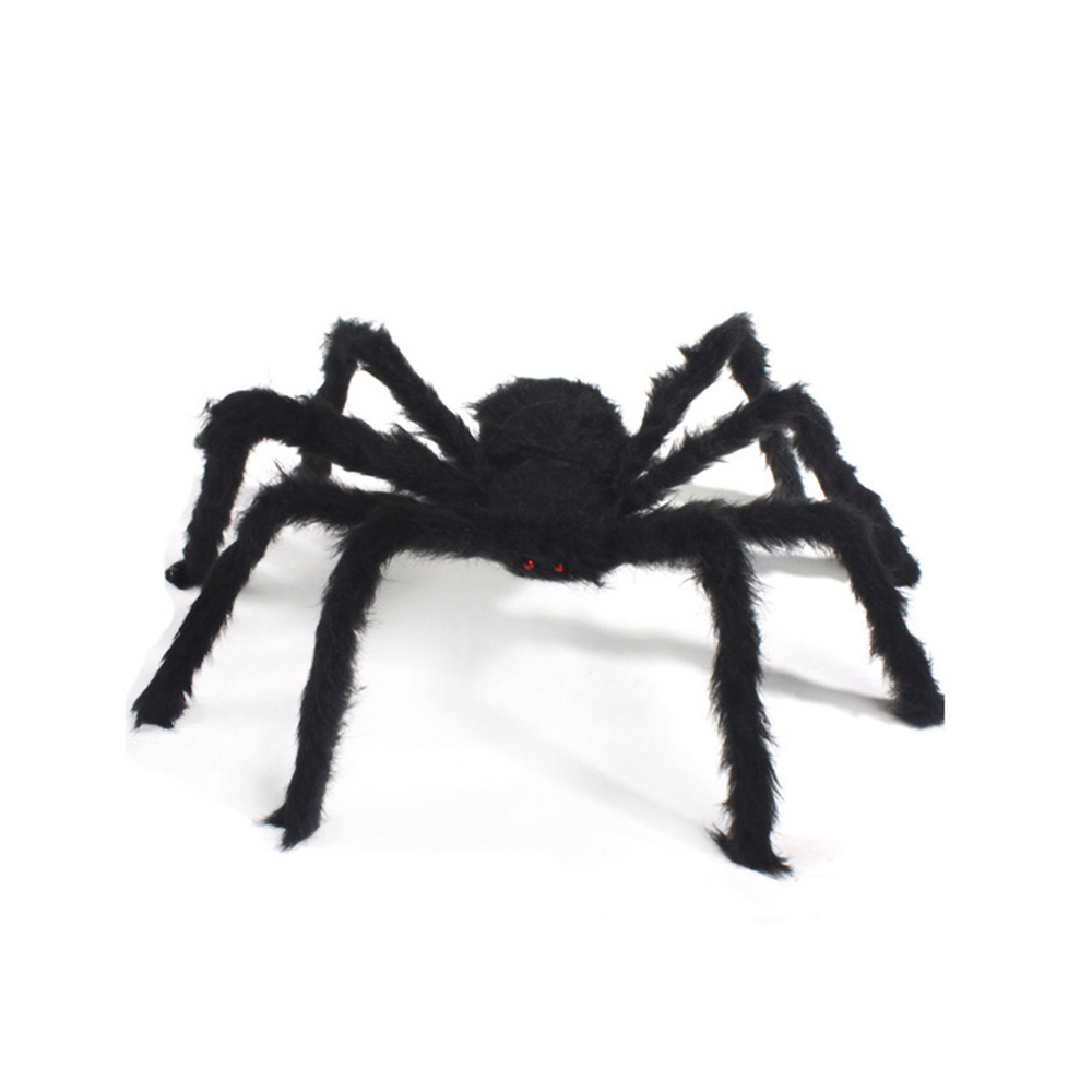 Party Decoration Halloween Supplies Spider Decor Props Bar Moving Ornament Fluffy Imitate Black Spider Gadgets Prop Prank HG0159