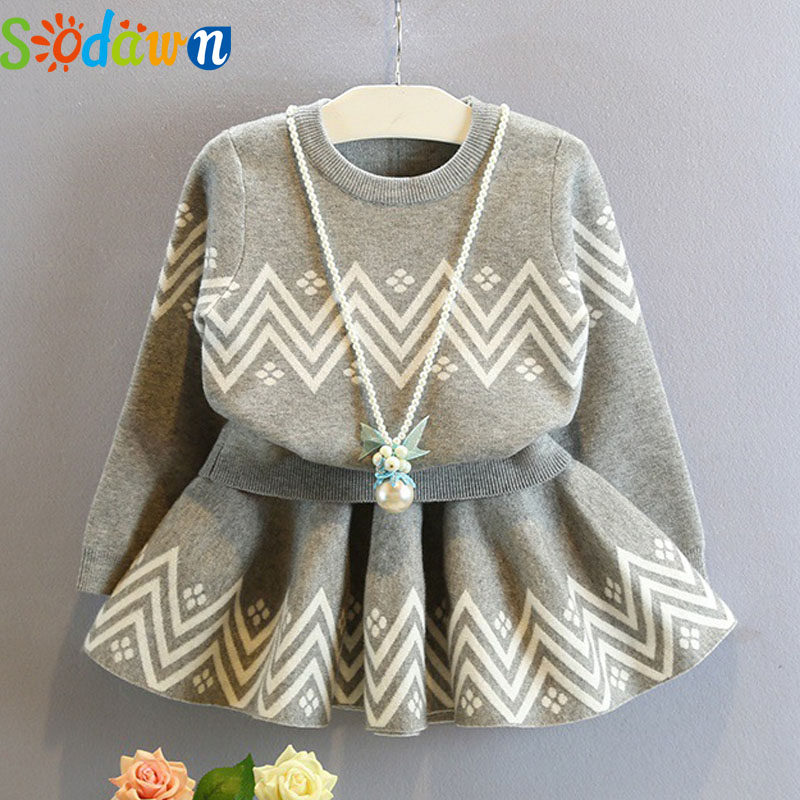 Sodawn 2017Autumn New Girls Clothing Set Kids Clothing Fashion Casual Knit Top+Dress Girls Clothes Comfortable children clothing