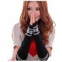 New Fashion Women Arm Hand Winter Warmer Mitten Long Fingerless Snowflake Gloves Color:Black