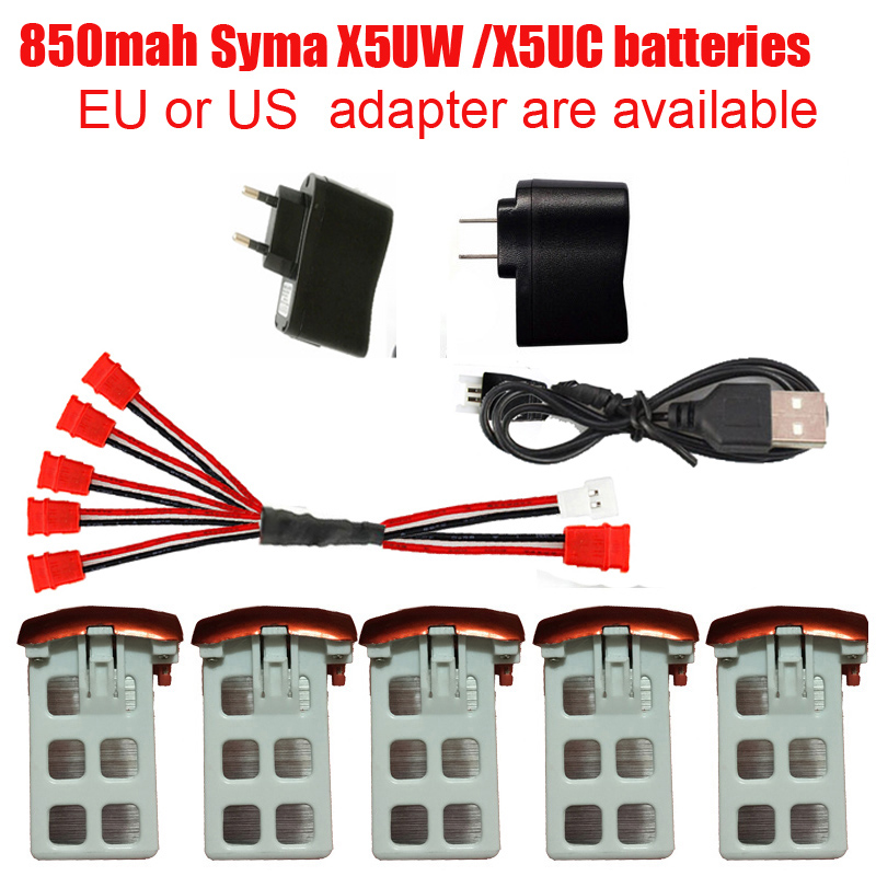 Syma X5UW Syma X5UC RC Quadcopter Battery Capacity 3.7V 850mAh Lipo Battery RC Drone And Charger  5-1 Cable