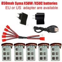 Syma X5UW Syma X5UC RC quadricottero capacità della batteria 3.7V 850mAh batteria Lipo RC Drone e caricabatterie 5-1 cavo