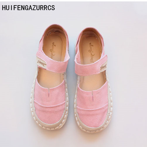 HUIFENGAZURRCS-New Pure handmade Casual shoes,The retro art mori girl lazy shoes,Candy color sandals ,The women canvas shoes the pure abscess