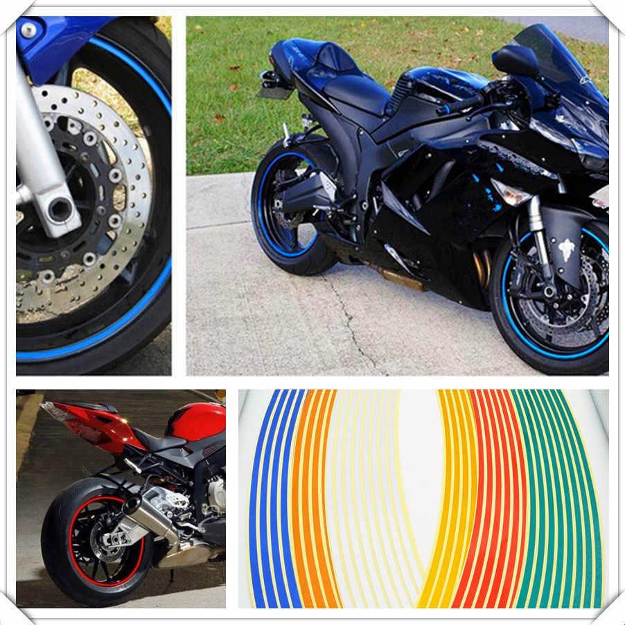 شرائط ملصقات لعجلات الدراجة النارية شريط لاصق عاكس حواف الدراجة تزيين السيارة لياماها FZ6 فازر بويل أوليس XB12XT X1