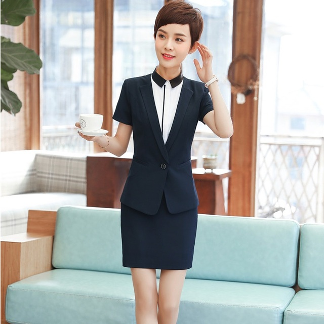 ea34fb17e5f9 Summer Uniform Styles Formal Blazers With 2 Pieces Tops And Skirt Career  Work Wear Ladies Interview Job Blazer Sets Plus Size