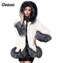 Winter Faux Fur Coat Women Fox Collar Hooded Mink White and Black Medium-long Overcoat Genuo Luxury