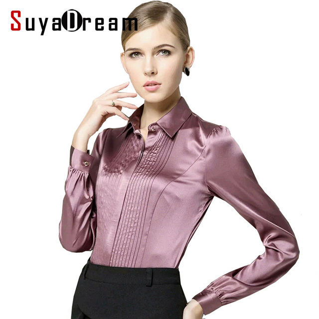 d062d248b135e Pure Mulberry SILK blouse Women long sleeve work Brand Solid Darts Blusas  femininas Office lady STRETCH