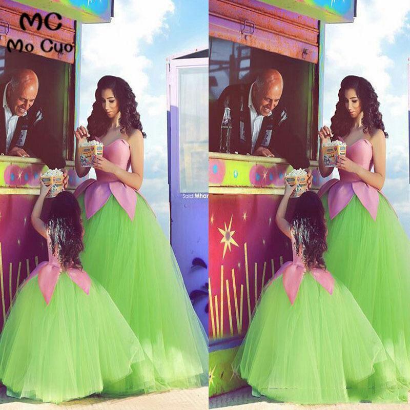 2018 Pink Green Flower Girl Dress for Wedding First Communion Dresses for Girls Mother and Daughter Matchin Dress