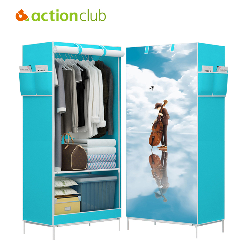 Actionclub Multi-function Wardrobe Folding Cloth Closet Cartoon Clothing Storage Cabinet DIY Assembly Reinforcement Small Closet actionclub fabric oxford cloth wardrobe closet diy assembly multifunction large wardrobe folding portable cabinet home furniture
