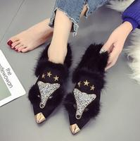 2018 autumn and winter new fox head rhinestones fur shoes women's net red pointed low heeled shoes peas shoes women