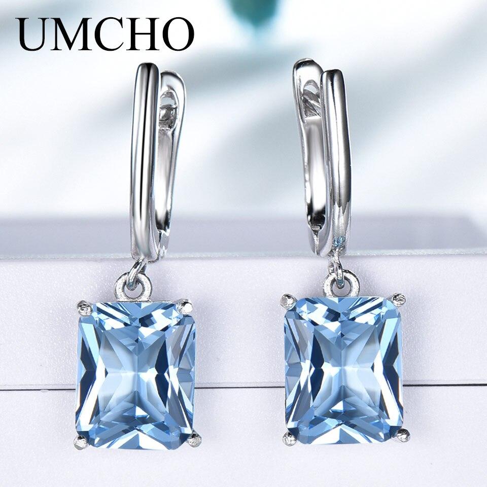 2c1a8e5f9 UMCHO Nano Blue Topaz Drop Earrings for Women Genuine 925 Sterling Silver  Romantic Wedding Engagement Gemstone