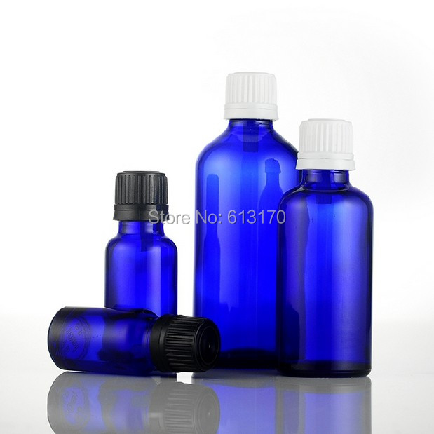 10ml,20ml,50ml,100ml Empty Glass Bottles Blue Vials With White,Black Tamperproof Cap Essential Oil Bottles free shipping 100 pcs lot of small glass vials with cork tops 1 ml tiny bottles little empty jars