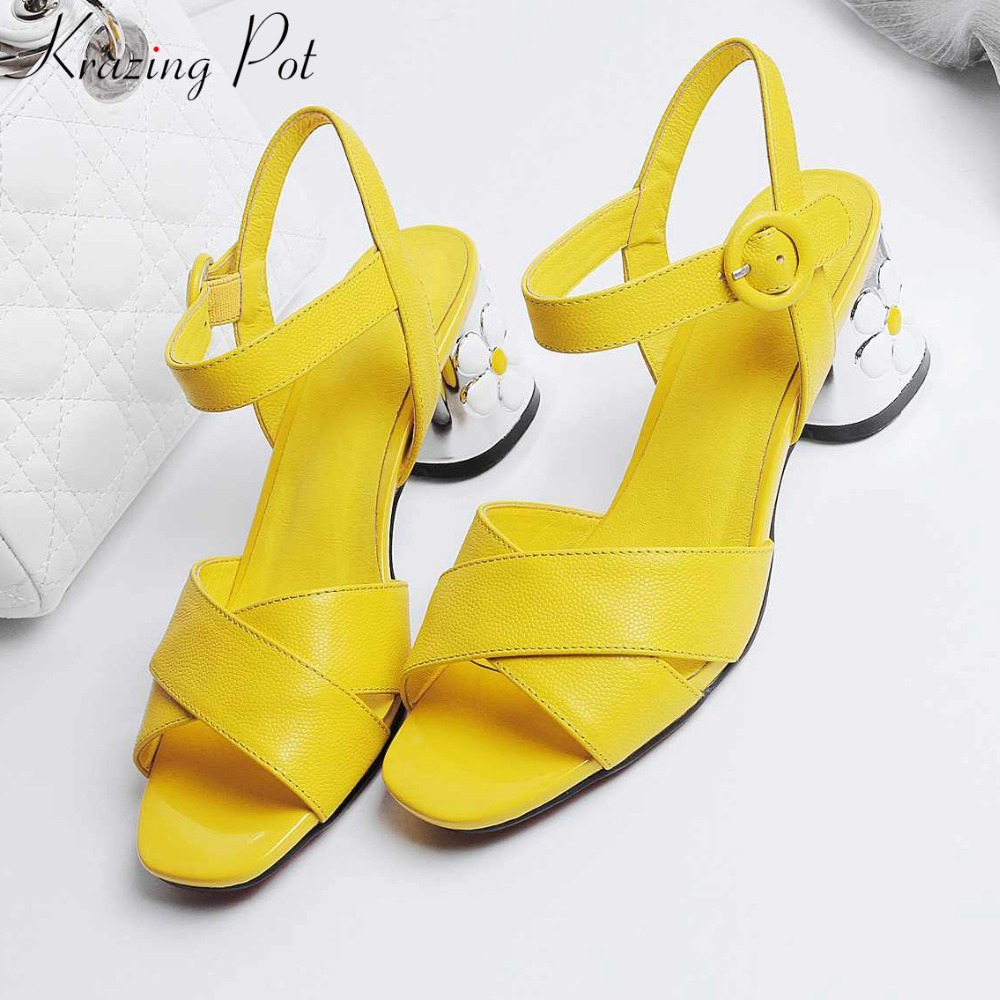 цены Krazing pot cow leather free shipping peep toe ankle straps women bigger size flowers high heel sandals summer color shoes L81