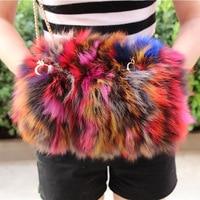 956232 New fashion fox fur warm Hand Bag Chain zipper splice women's single shoulder Bag Fox Fur Handbag