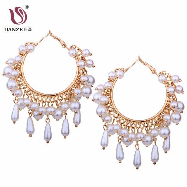 DANZE Baroque Style Simulated Pearl Tassel Earring for Women Light ...