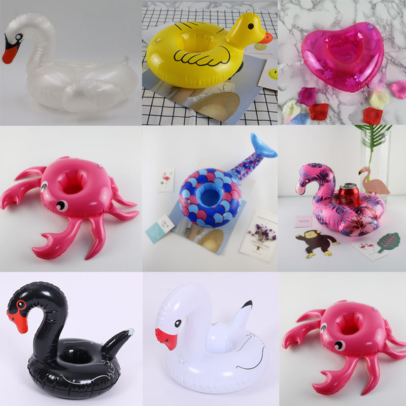 Mini Yellow Duck/Flamingo/Black and white swan Inflatable Cup Holder Beverage Boats Summ ...