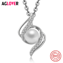 Christmas Hot Sale 925 Sterling Silver Zircon Pearl Necklace Fashion Woman 6mm Pearl Pendant Glamour Jewelry 50cm Long Necklace 3 4mm long fresh water pearl necklace multi layers 925 sterling silver with cubic zircon flower party necklace fashion jewelry