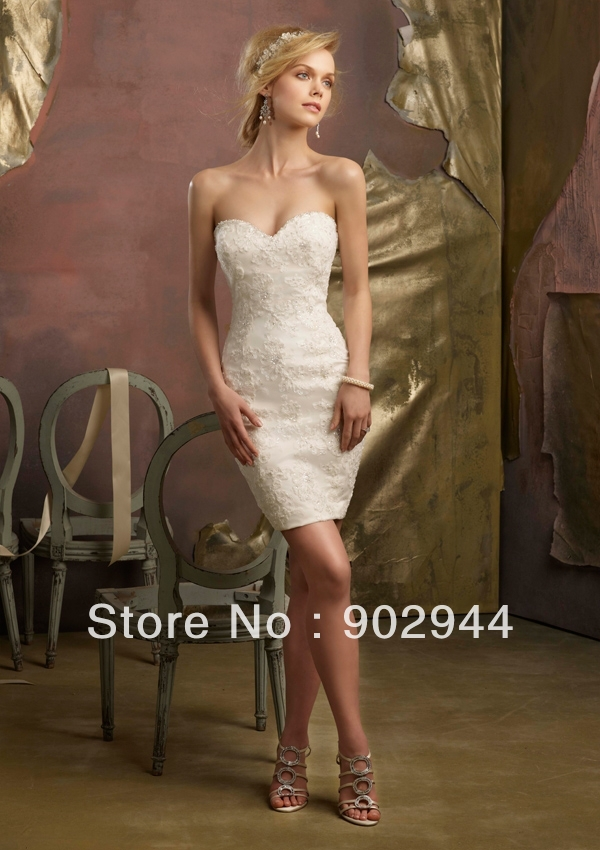 White ivory sexy lace beach knee length low back short for Free wedding dresses low income