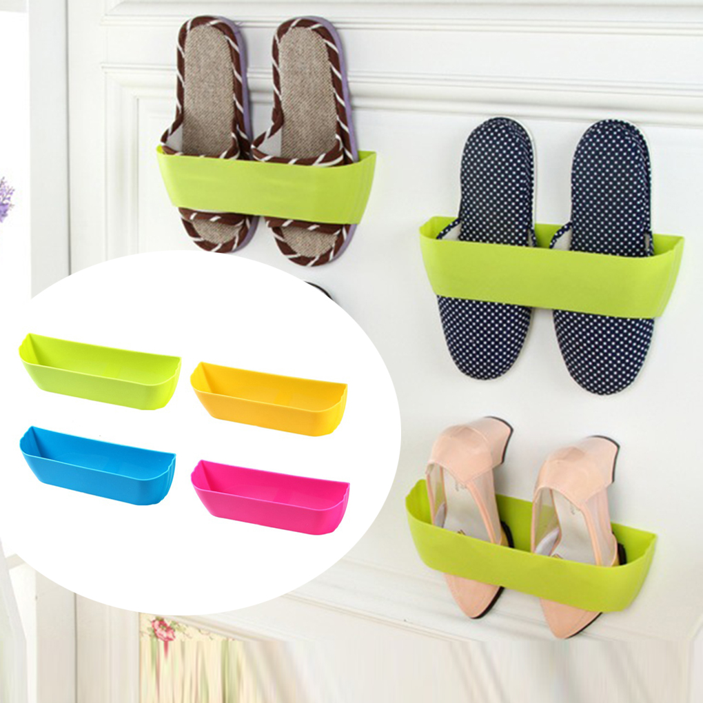 New useful Shoe Rack Plastic Shelf Holder Shoe Hanger Bathroom Wall Storage Shelving Vertical Storage Rack