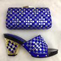 Royal Blue African Wedding Sandal Shoes And Match Bag Set With Stones For Party High Quality Italian Shoes With Bag Set TT16-10