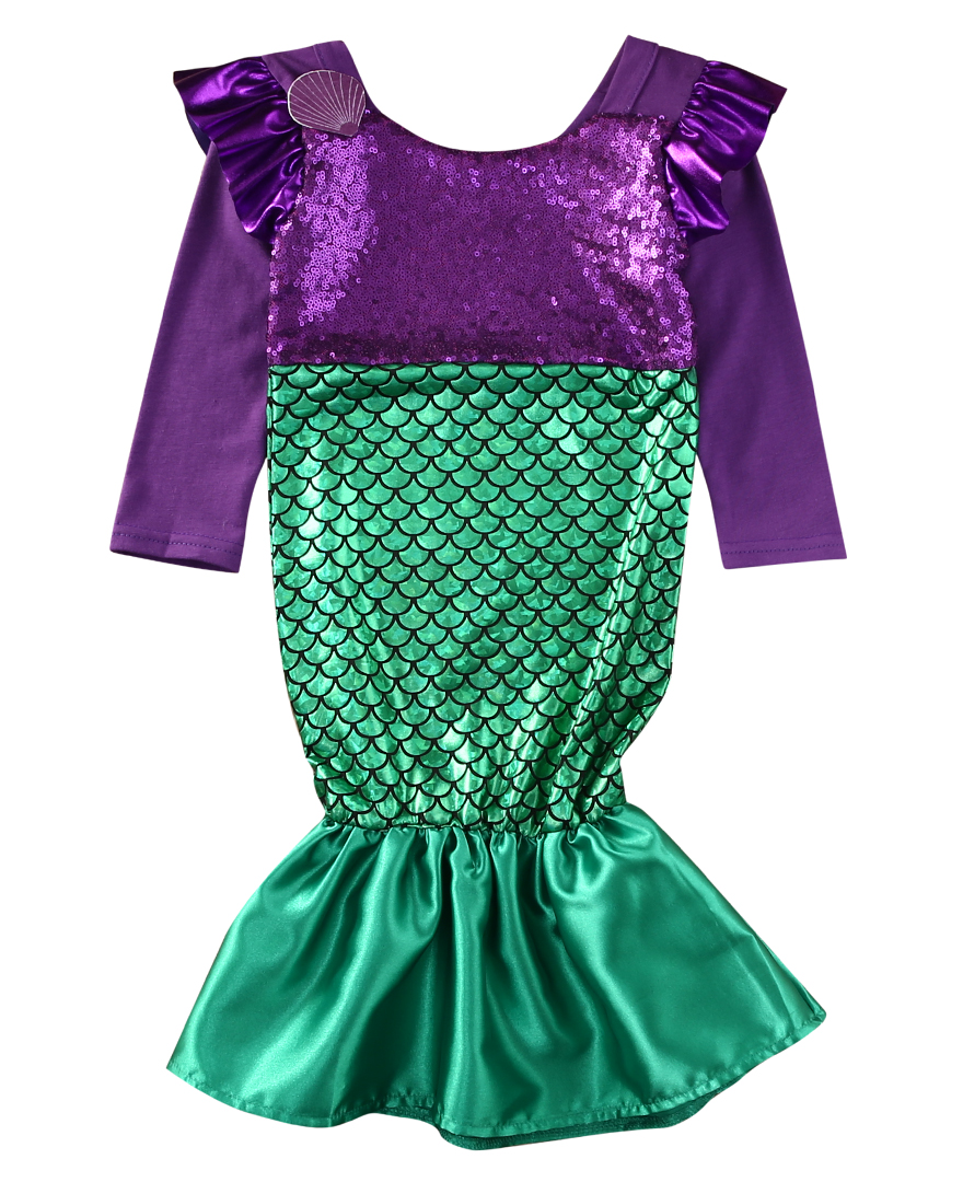 2017 Baby Girl Dress Child Little Mermaid Trumpet Long