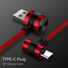 Micro USB Type C  Fast Charging 90 Degree Cable For Samsung S8 S9 S10 Xiaomi Huawei Microusb USB-C Charger Cord Kabel hdsail led light cable fast charging micro usb type c cable led wire cord type c charger for iphone 7 8 xs max samsung s10 s9 s8