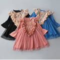 3-8Y Toddler Baby Girls Tutu dress kids Crochet Lace pearl Dress Long Sleeve Princess Dress retro Girls Clothes Autumn