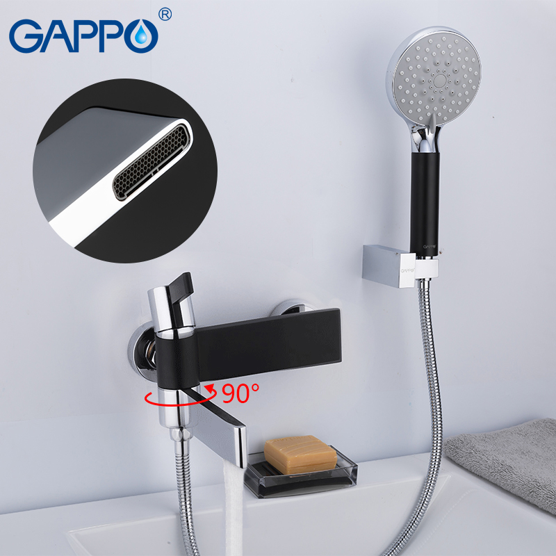 GAPPO black bathtub faucet bathroom shower faucet Waterfall Bath tub faucet Wall Mounted faucet mixer tap rainfall bathroom taps вытяжка каминная gorenje dk63cli бежевый