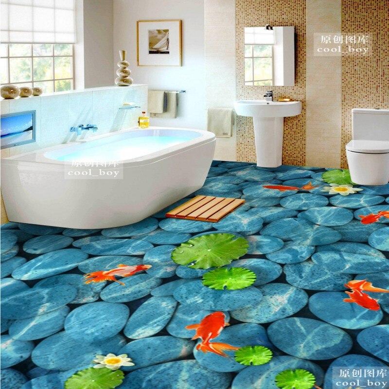 Free Shipping 3D pebble water Lotus pattern Chinese goldfish flooring painting wallpaper non-slip PVC floor mural