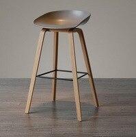 Minimalist Modern Design solid wood pp plastic bar chair northern wind fashion creative denmark counter stool Popular Furniture