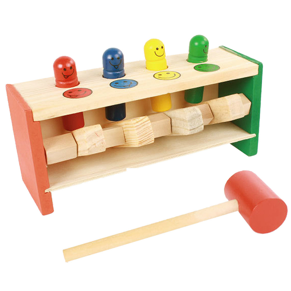 Kid Baby Toddler Educational Wooden Toy Colorful Smile Face Pegs Game Hammering Pounding Punch Bench Education Toys with Mallet