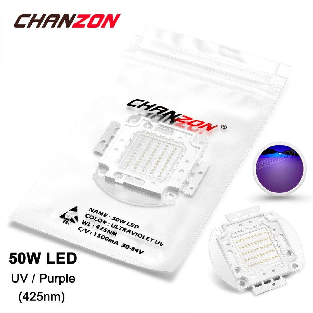 50W LED Light Bulb Lamp UV Ultraviolet 425nm 30-34V 1500mA High Power 50 W Watt Purple Ultra Violet Chip Integrated 50Watt COB 50w high power led lamp light uv purple 420nm 430nm led emitter dc 30 36v 1700ma led bulb lighting