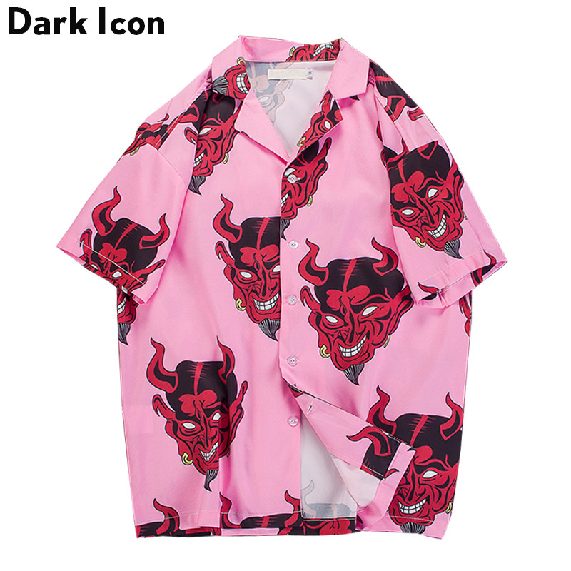 Devil Full Printing Turn-down Collar Casual Shirts Men 2018 Summer High Street Men's Shirts Pink /Purple
