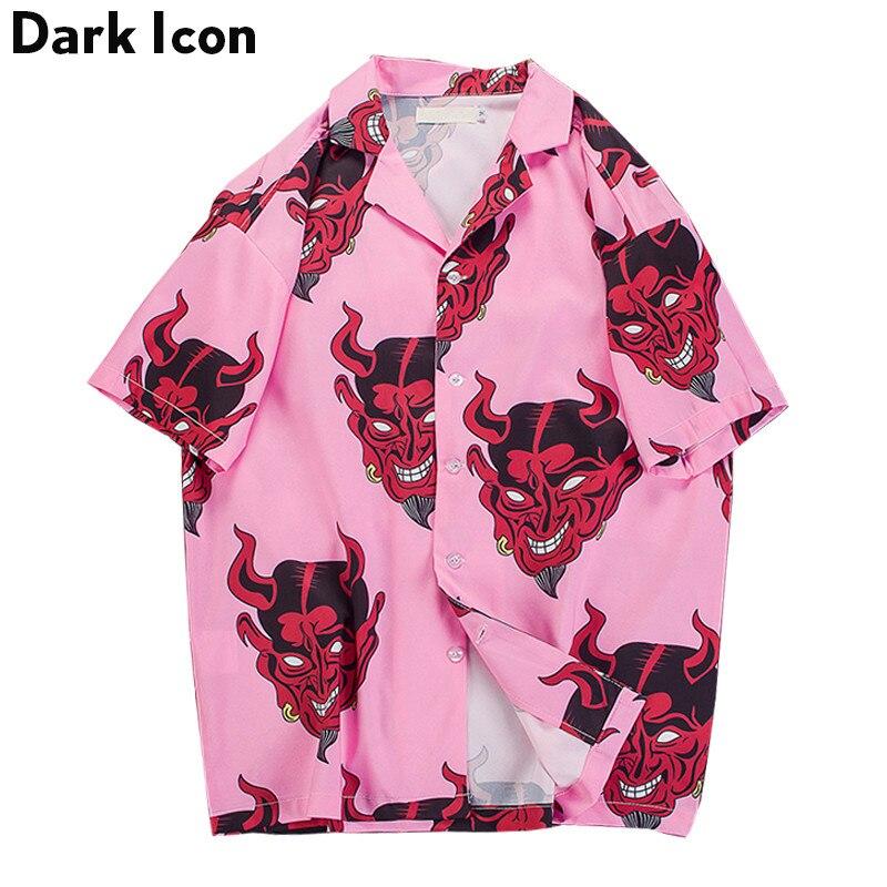 Diablo de impresión completa giro-abajo Collar de camisas casuales de los hombres de verano de 2018 de la calle los hombres camisas de color de rosa/púrpura