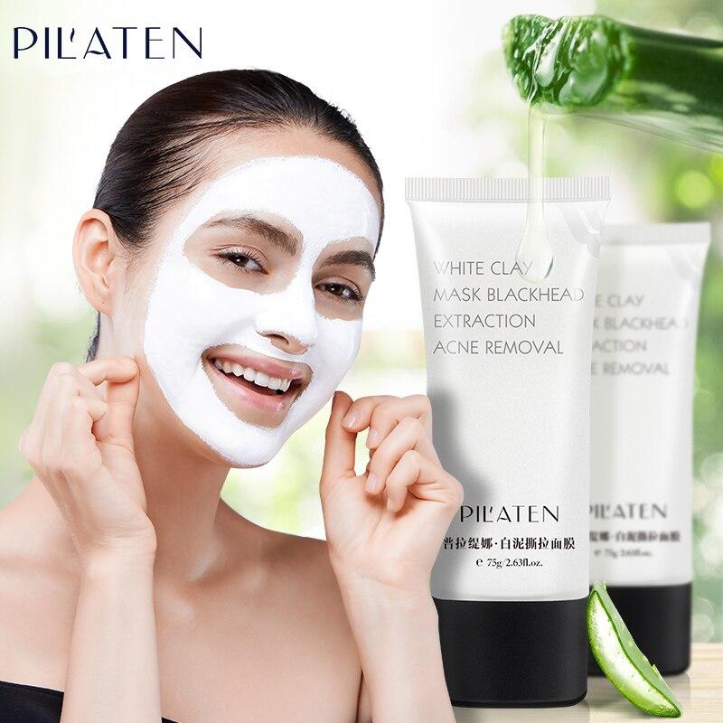 PILATEN Blackhead removedor de cara máscara de arcilla blanca máscara de limpieza profunda de la espinilla acné tratamientos máscara Zona T, cuidado del rostro 75g