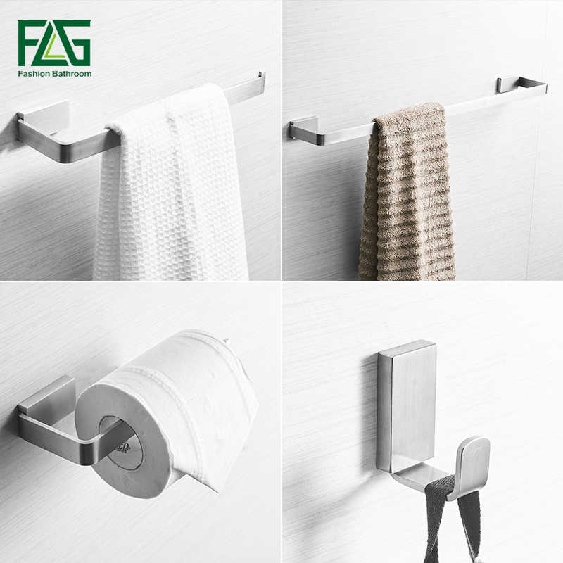 FLG 304 Stainless Steel Bathroom Accessories Set Towel Bar Robe hook Wall Mounted Paper Holder Brushed Nickel Bath Hardware Sets