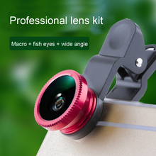 Universal 3 en 1 Lente de fisheye gran angular macro lente de la cámara clip-on de la lente de la cámara del teléfono celular 180 grados para el iphone samsung xiaomi