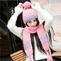Новый зима теплая шерсть шляпы шарф для женщин лыжный шляпы и шапки вязание зимние шапки зима теплая шапка шарф набор