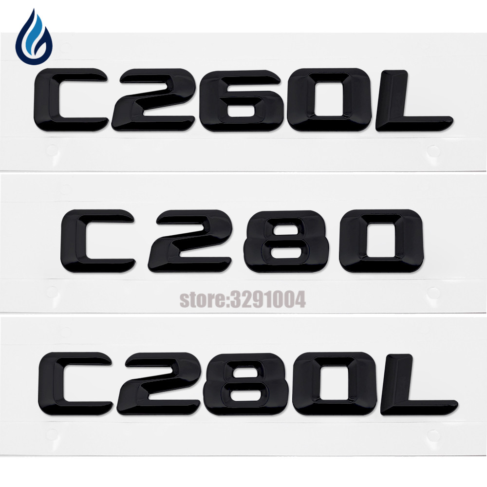 Car Styling For Mercedes Benz C-Class C260L C280 C280L Trunk Rear Emblem Badge Chrome Letters Sticker For W201 W202 W203 W204 car rear trunk security shield cargo cover for mercedes benz ml class w164 ml300 ml350 ml500 2006 2012 high qualit accessories