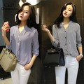 New Hot Women Chiffon Blouse Striped Loose Shirt Fashion OL Wear Tops Work Suit Spring Autumn Casual Shirt Full Sleeve V-neck 62
