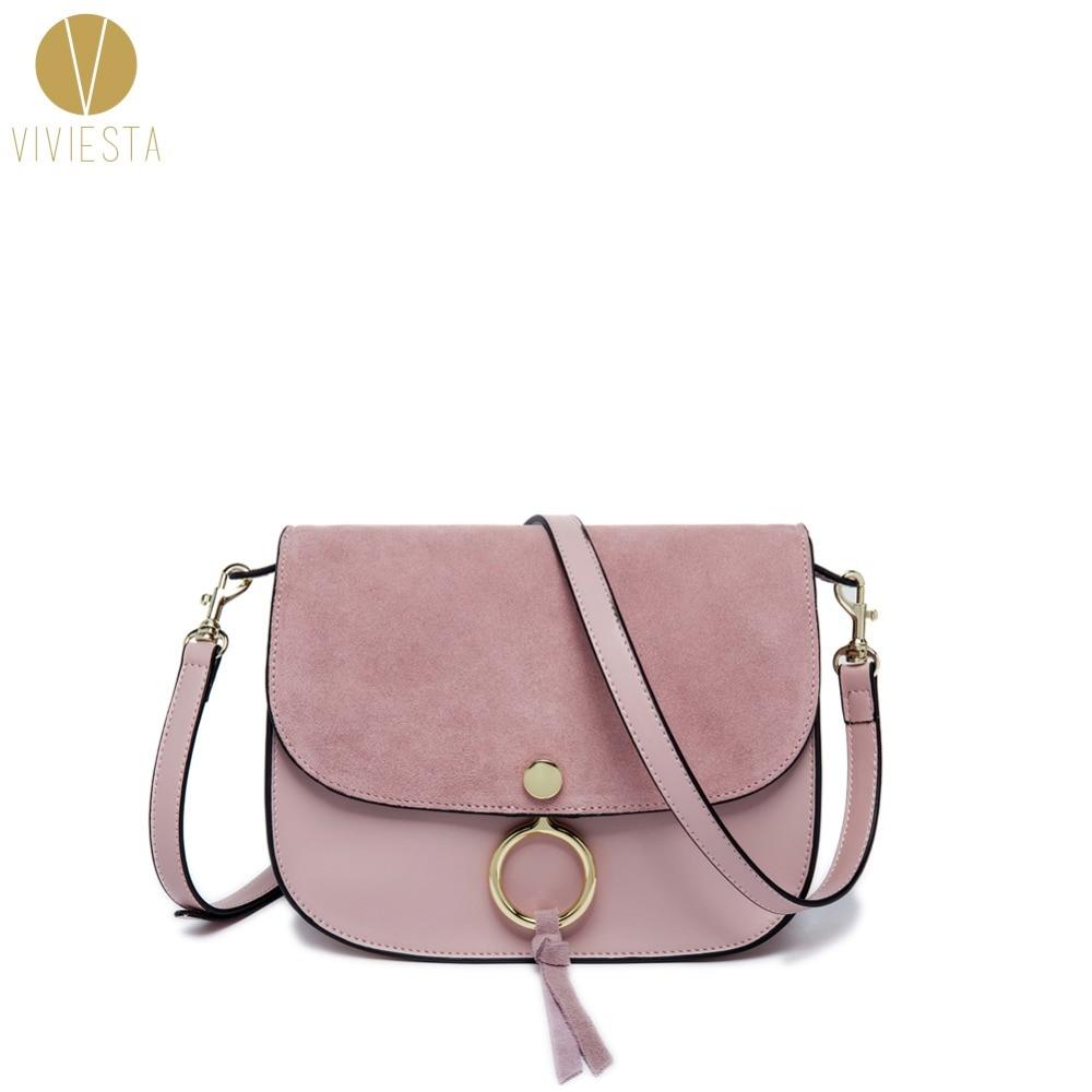 REAL SUEDE AND LEATHER BI-FOLD SADDLE BAG - Womens Ring Lock Celebrity Style Famous Fashion Shoulder Crossbody Flap Bag Handbag